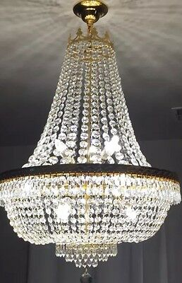 """French Empire Crystal Chandelier In Gold 9 Lighting H30"""" X W24""""-free Ship"""