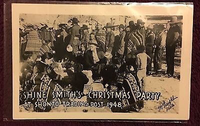1948 Shine Smith's Christmas Party for Navajo Post Card - Signed by Shine Smith