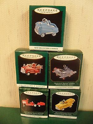 Hallmark Kiddie Car Classic Miniature Ornaments~ Lot Of 5~ 1995-1999 Mib H93