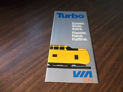 Via Rail Canada Canadian National Turbo Train Brochure
