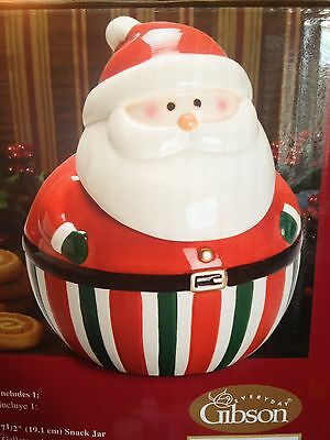 SANTA'S Delight SNACK Jar COOKIE Christmas GIFT GIBSON Holiday Collection NIB