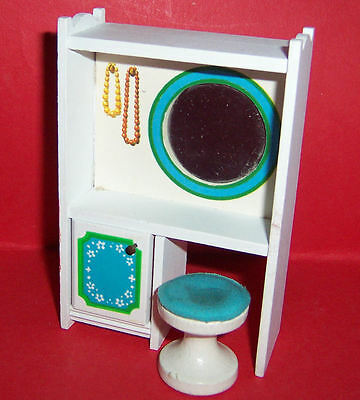 VINTAGE 1970's LUNDBY DOLLS HOUSE BLUE HEAVEN DRESSING TABLE & STOOL