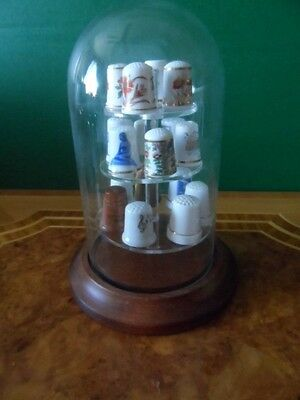 VINTAGE Glass Dome w 17 mix thimbles Wood Ceramic Bone China Aynsley Paragon