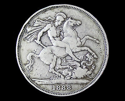 1888 Queen Victorian Sterling silver crown coin Narrow date version.