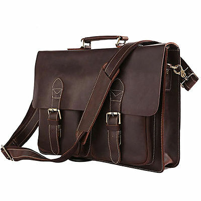 "Men's Leather Shoulder Briefcase, 16"" Laptop Bag Tote Brown"