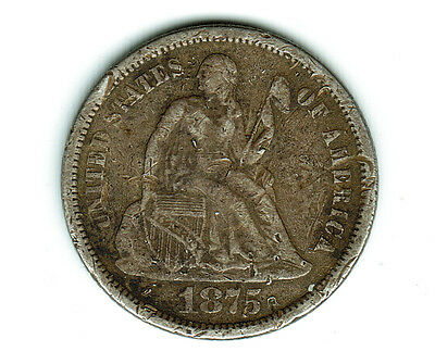 1875 P Seated Liberty Silver Dime- Grade It Yourself, See Images