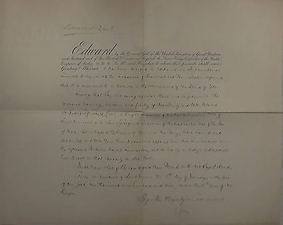 King Edward VII Hand Signed Autograph Commission Document Queen Victoria Son