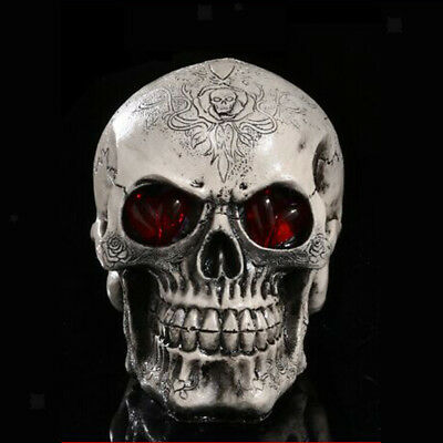 Led Homosapiens Skull Statue Figurine Human Skeleton Head Halloween Decor