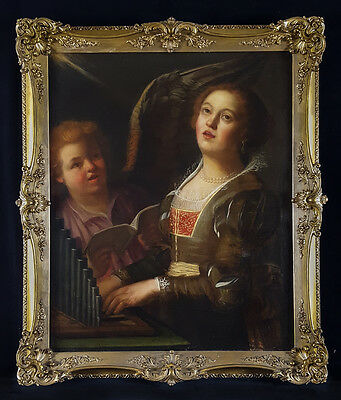 Large 17th Century Dutch Old Master St Cecilia with Organ Antique Oil Painting