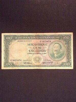 Old Mozambique One Hundred Escudos Banknote Collectable Vintage Paper Money