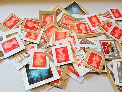100 Assorted Unfranked 1st Class Stamps on Paper - Perfect Condition