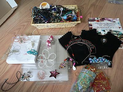 Job lot jewellery making, beads, gift bags, displays