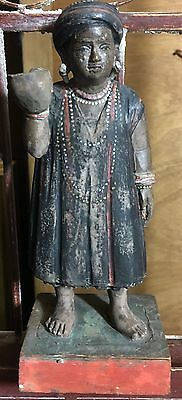 18th or 19th Cent. Carved Wooden Southeast Asian Native Male Statue