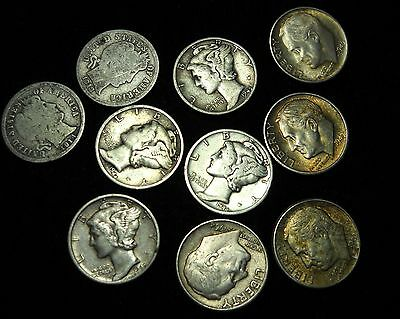 10 Mixed Silver Dimes, 10 Cent, US 90% Silver Coins, Barber, Mercury, Rosie! (1)