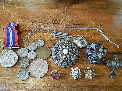 Metal Detecting Finds Sterling Silver 925 Chains Medal Coins Masonic Job Lot Pot