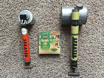 2 Vintage Weed, bug, chemical sprayers, Montgomery Wards, Raid Mosquito coils