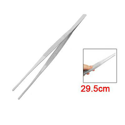 SS Silver Straight Point Tip Stainless Steel Nonmagnetic Tweezer 29.5cm Long