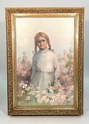 Young Girl in Pigtails Among Flowers Large Oil on Canvas Painting Pat Zenda