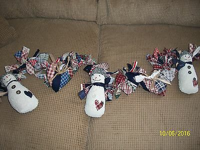 Christmas Rag Garland 5 ft Primitive Hand Tied Home Made Stuffed Snowmen& Hearts