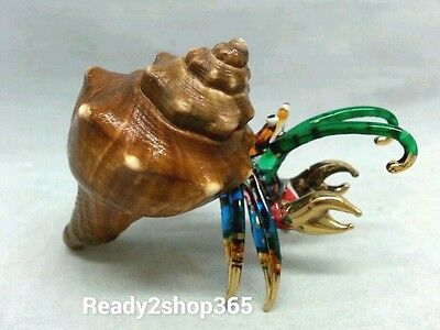 Hermit Crab Figurine Glass Blown Hand Animal Shell Miniature Home Art Seashell