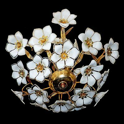 Fabulous Large Vintage Gold Italian Murano Flower Venini Art-Glass Chandelier