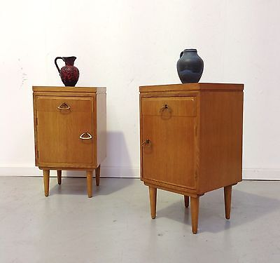 PAIR OF VINTAGE RETRO OAK BEDSIDE CABINETS DRAWERS CUPBOARDS ATOMIC LEGS 1960s