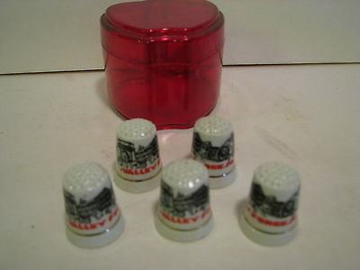 Lot Of 5  Valley Forge, Pa Thimbles    1  1/8 Inches  White