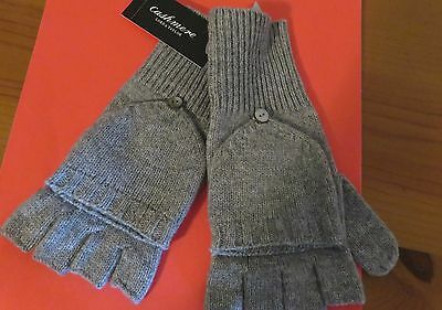 ladies nwt cashmere fingerless gloves size s,heather grey,styleless pkt feature