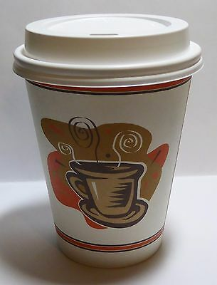 12 oz  200 Paper Coffee Cup/Disposable Hot Cup with 200 Cappuccino Lids