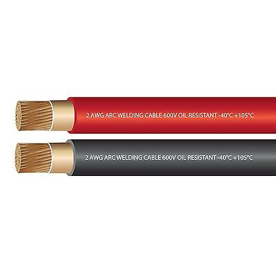 2 AWG Premium Extra Flexible Welding Cable 600 VOLT COMBO PACK - BLACK+RED - ...