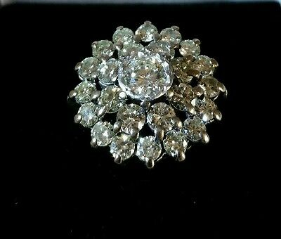 Antique 18ct Yellow gold Daisy Cluster Ring.Claw set with twenty five diamonds