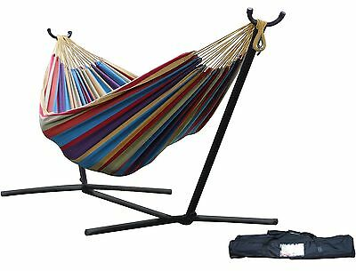 Vivere Double Hammock with Space-Saving Steel Stand Tropical Cotton