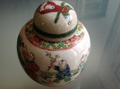 Antique CHINESE GINGER JAR Famille Verte Porcelain19th C