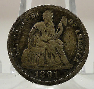 1891 seated Liberty silver dime, #64540