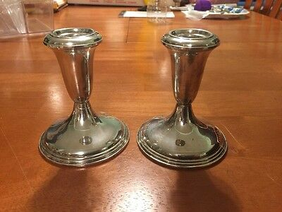 Vtg Pr Reed & Barton Sterling Candle Holders Candlestick 432 Clean Old Weighted