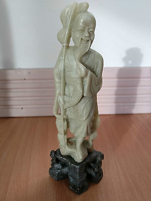 "6"" Chinese Hand Carved Soap Stone fisherman"