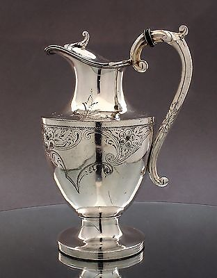 Antique Victorian silverplate embossed bright-cut wine pitcher jug hot water pot