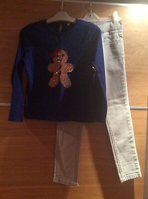 girls jeans from River Island age 7 and top from Marks and Spencer age 6-7 years