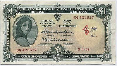 1963 Ireland Lady Lavery £1 One Pound Note***Collectors***