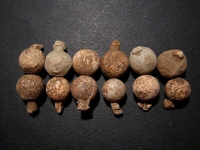 LOT of 12 pcs.AMAZING POST MEDIEVAL MILITARY LEAD BALLS, Metal Detector Finds+++