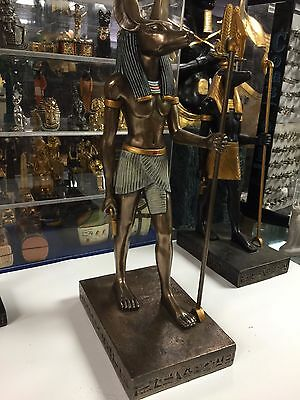 Large Egyptian God Anubis Statue Hand Carved Bronzed Finish Made in Egypt