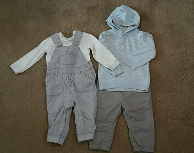 Bundle Baby Boy Outfits, Size: 9-12 Months (BNWOT) Pale Blue Grey, RRP £24