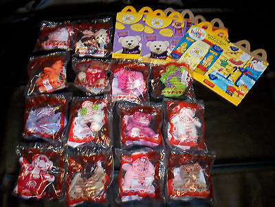 McDonalds Build-a-Bear Dolls 2007 2009 Complete Sets SEALED 3 Happy Meal Boxes