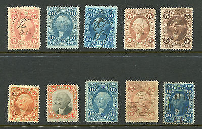 (1862-71) Small lot of 10 used Revenue stamps