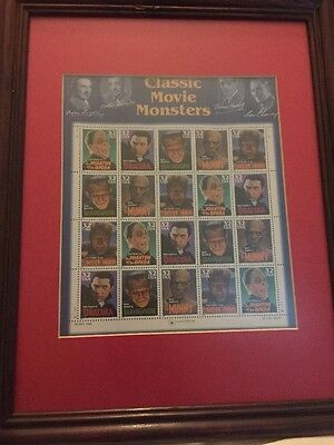 Hollywood Classic Movie Monsters Stamps Framed Frankenstein Dracula USPS 1997