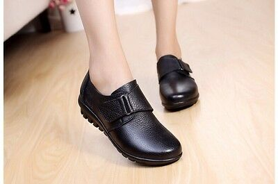 Size 8 Women's ladies comfort leather flat black nursing casual school shoes