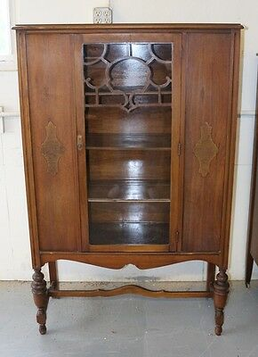 Vintage Antique Hutch Cabinet Cupboard Glass Front Wheels