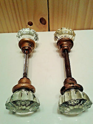 Two Vintage Brass Crystal Door Knob Handle