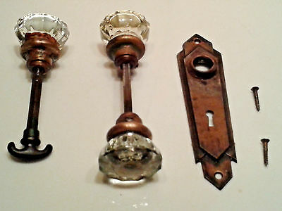 Two Vintage Brass Crystal Door Knob Handle with Brass Cover Plate