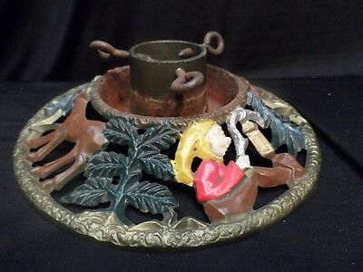 Cast Iron Round Vintage Christmas Tree Stand with Elves and Reindeer